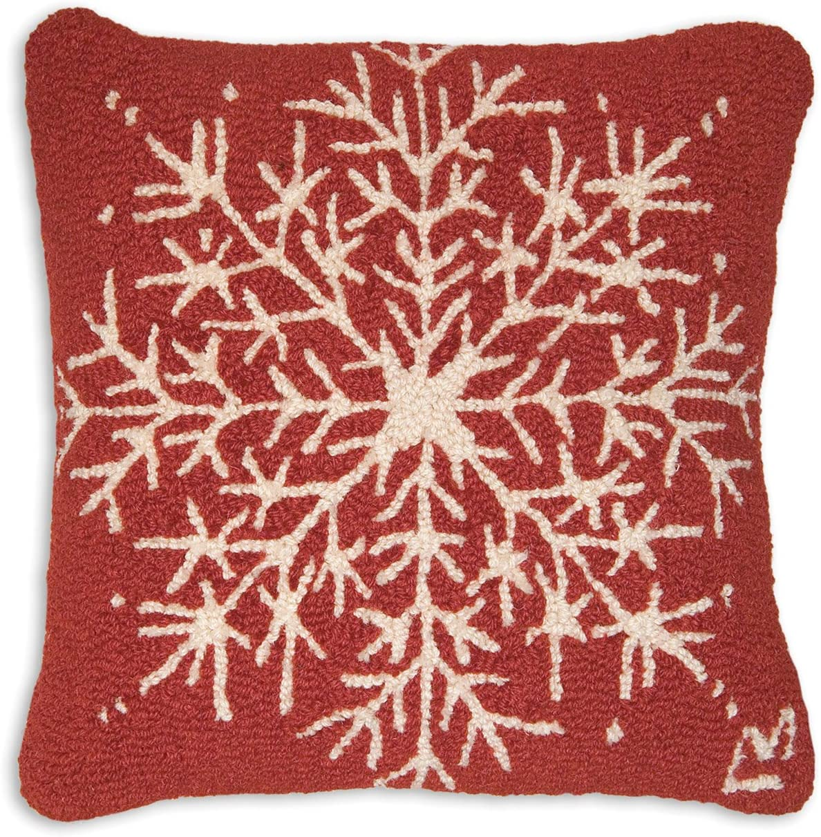 Chandler 4 Corners Artist-Designed Snowflake Hand-Hooked Wool Decorative Throw Pillow 18 x 18