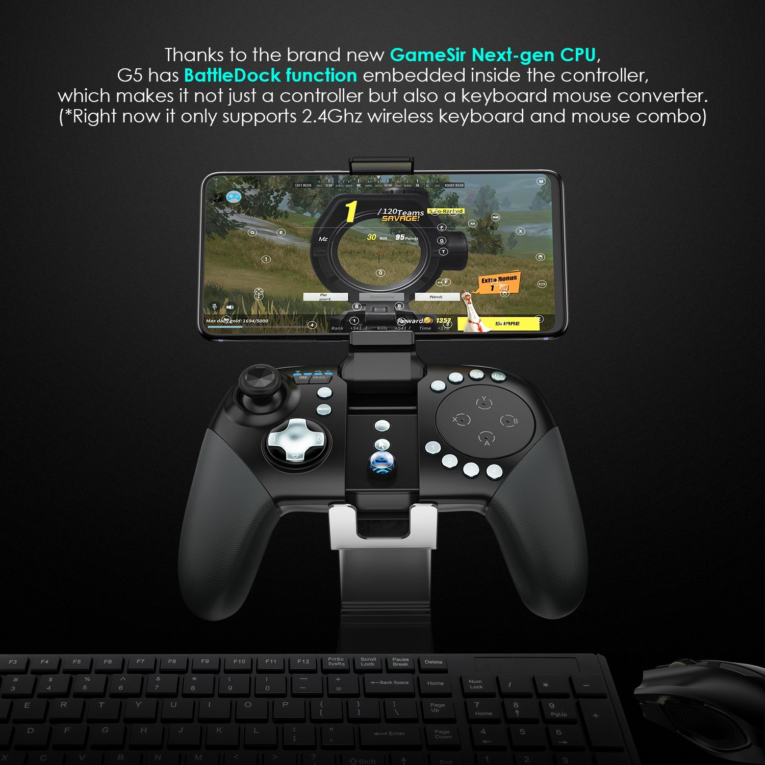GameSir G5 MOBA Trackpad Touchpad Gaming Controller Wireless Gamepad for  Android