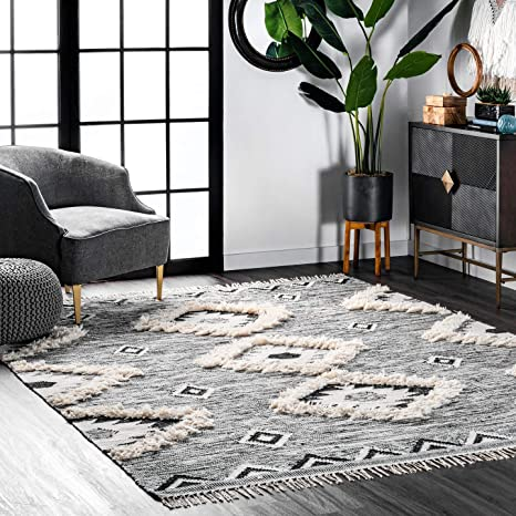 Amazon Com Nuloom Savannah Moroccan Fringe Area Rug 7 6 X 9 6 Black Furniture Decor