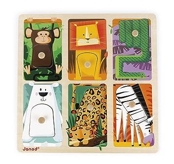 Puzzlejuratoys J07081 Puzle Zoo Janod Del Táctil Animales UzpSMV