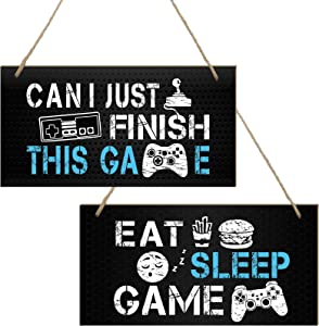2 Pieces Funny Gaming Room Sign Gaming Accessories Bedroom Door Sign Novelty Gamer Wood Wall Sign Hanging Wall Art Sign for Teens Boys Husbands Men Boyfriends (8 x 4 Inch, Black)