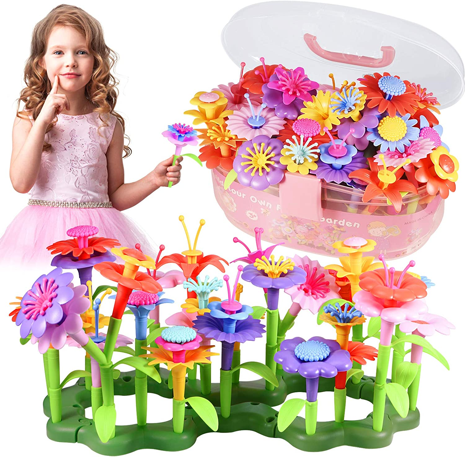 Holiky Building Toys for 3-9 Year Old Girls, Flower Garden Gifts for Girls and Boys, Educational Activity STEM Toys, Build a Bouquet Floral Arrangement Games for Kids