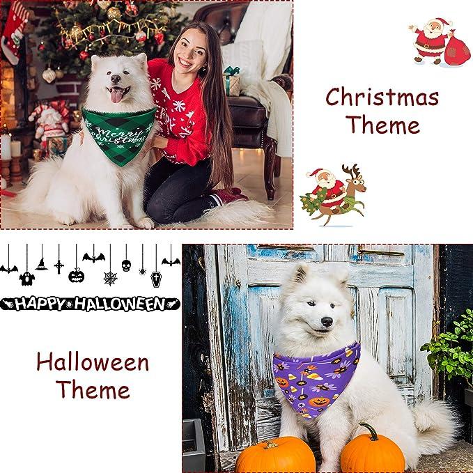 2 Piezas Pa/ñuelos de Perros de Festival Reversible de Navidad Bufanda Triangular Ajustable de Mascotas Baberos de Mascotas Suaves con Cuadros de B/úfalo Elemento Festival para Perro