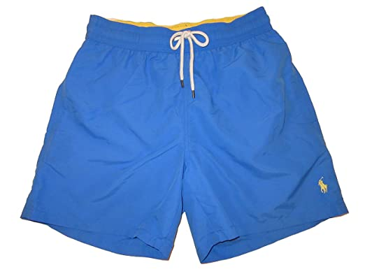 b8dca401b9 RALPH LAUREN Polo Mens 5 1/2 inch Traveler Swim Trunks (X-Large, Colby Blue)  | Amazon.com
