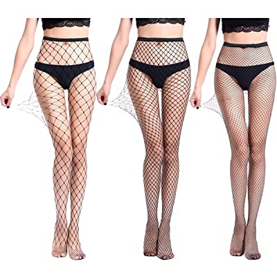 3 Pairs High Waist Tights Fishnet Stockings Thigh High Socks Mesh Net Pantyhose Black at Women's Clothing store