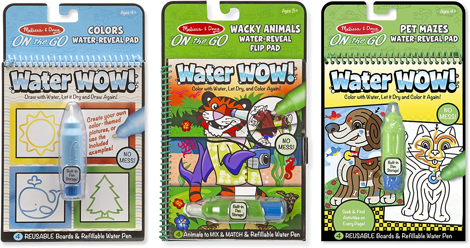 Melissa & Doug Water Wow! Water-Reveal Travel Activity Pad 3-Pack - Flip Pad, Colors-Shapes, Mazes