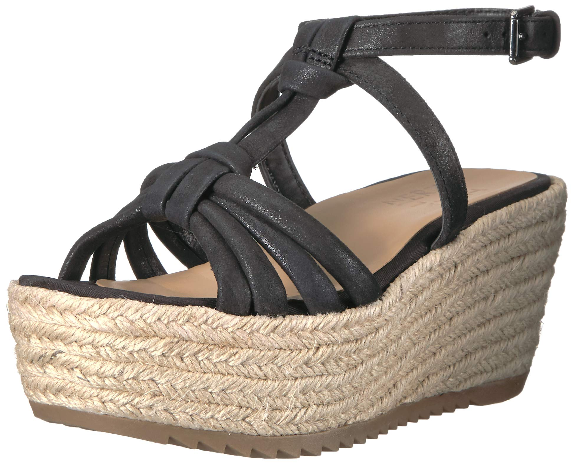 Naturalizer Women's ODINA Espadrille Wedge Sandal, Black, 8 M US by Naturalizer