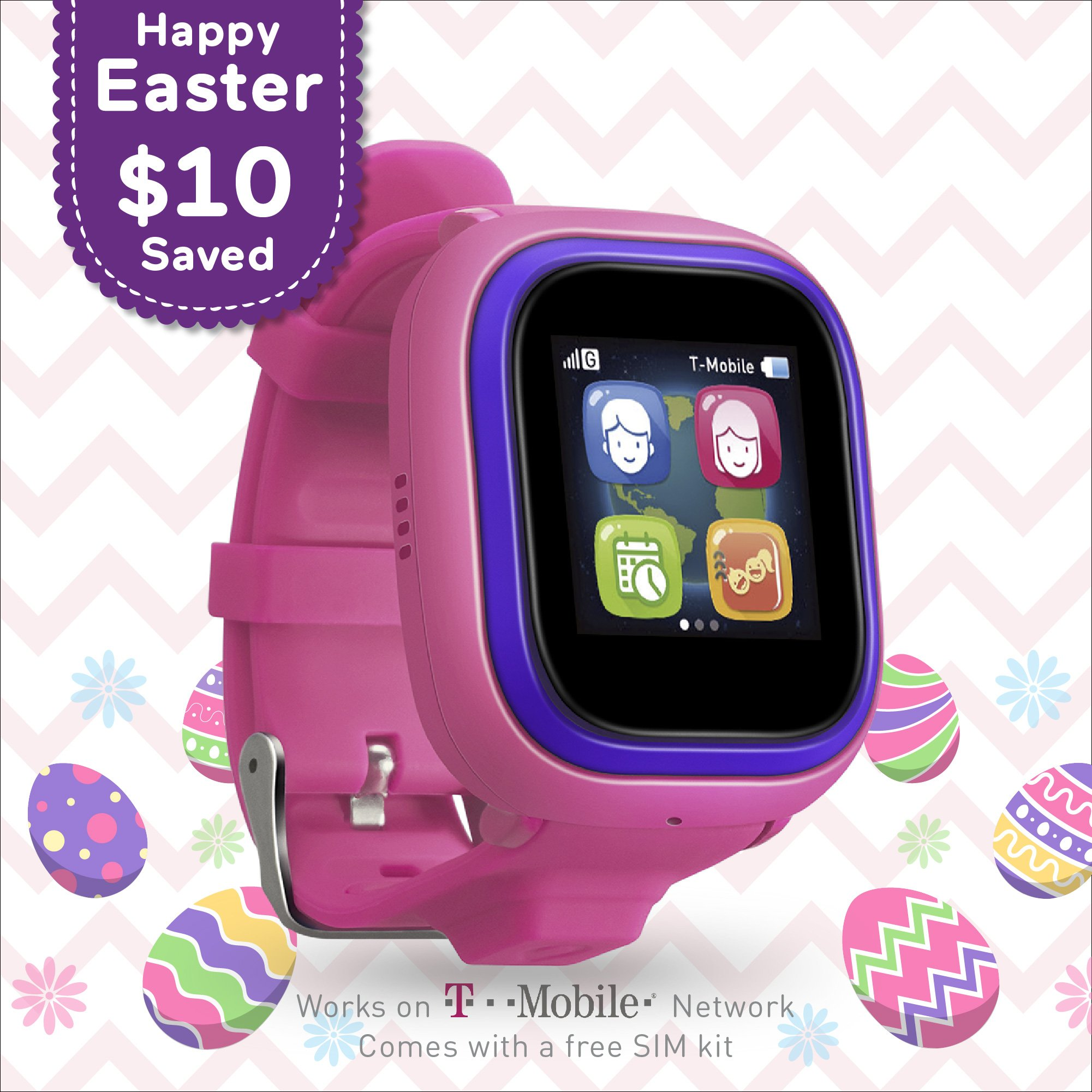 NEW TickTalk 2.0 Touch Screen Kids Smart Watch, GPS Phone watch, Anti Lost GPS tracker with New App, Better Positioning Chip, Things To Do Reminder, Phone/Messaging (SIM CARD INCLUDED) (Pink)