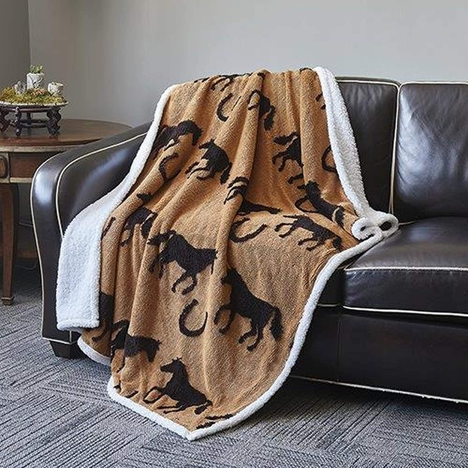 Virah Bella Black Horses on Tan, Designed by Phyllis Dobbs