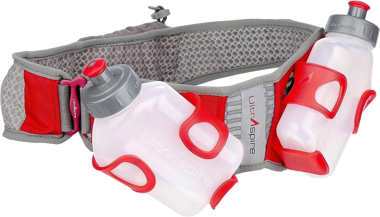 "UltrAspire Fusion Hydration Running MBS Waist Belt Pack with Two 8-oz Bottles (Medium: 30- 32"" Waist)"