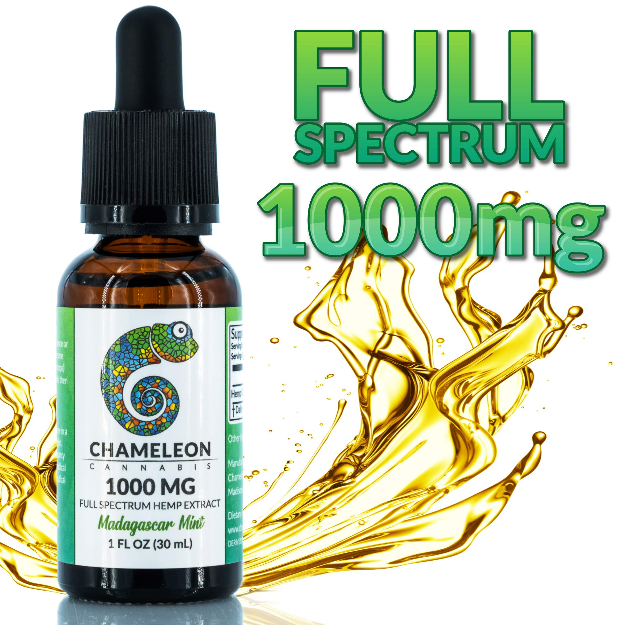 Full Spectrum Hemp Extract Oil for Anxiety | Pain Relief | Sleep Support - 1000mg Mint. Organic Hemp | Tastes Amazing | Non GMO | Grown in USA - 30mL