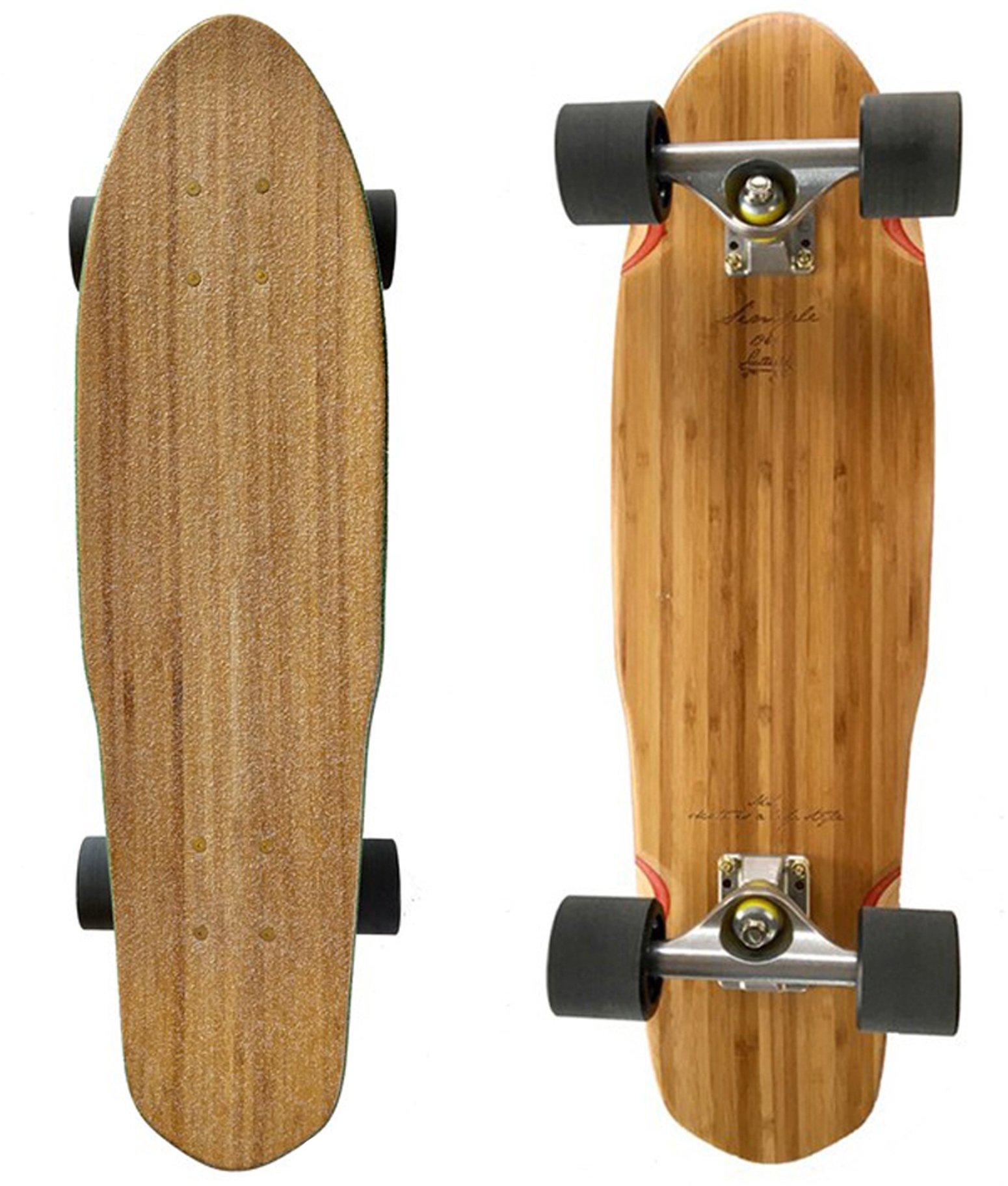 LMAI 27'' Bamboo Wood Cruiser Complete Skateboard (Clear Grip)