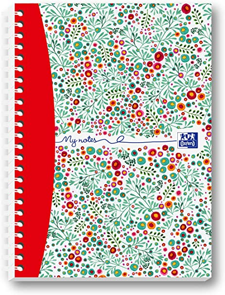 A4, 140 p/áginas Oxford Floral Cuaderno de espiral dise/ño floral