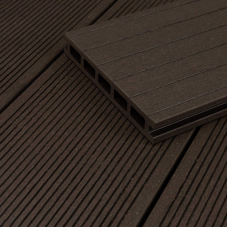1 Muster I Muster Dielenl/änge HORI/® WPC-Terrassendiele Komplettset Aktion Hohlkammer Anthrazit I Fl/äche