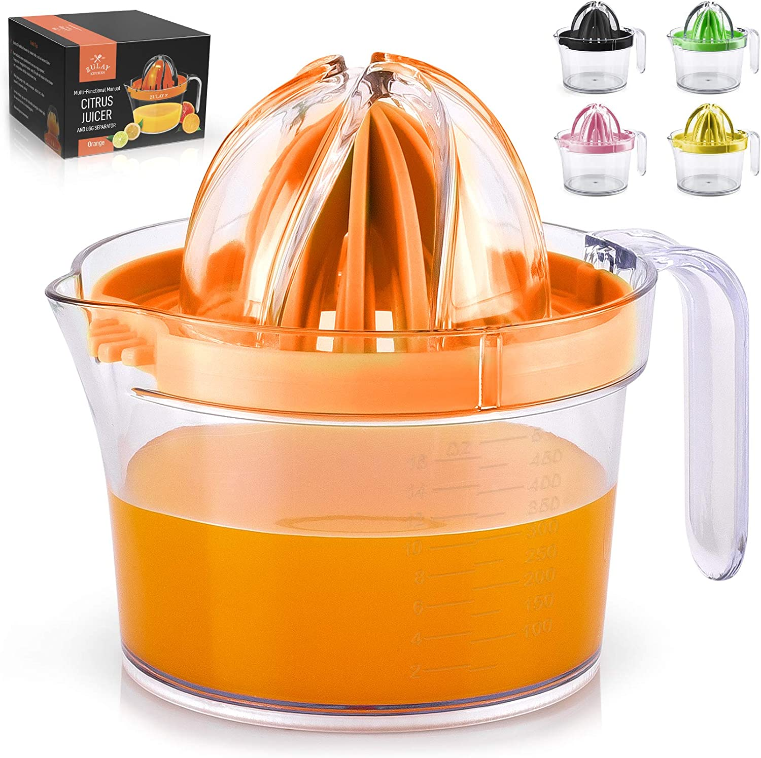 Zulay (17oz Capacity) Citrus Juicer Hand Press - Multifunctional Hand Juicer With Egg Separator, Large Reamer Adaptor, & Built-in Handle - Manual Juicer For Oranges, Lemons, Limes & More (Orange)