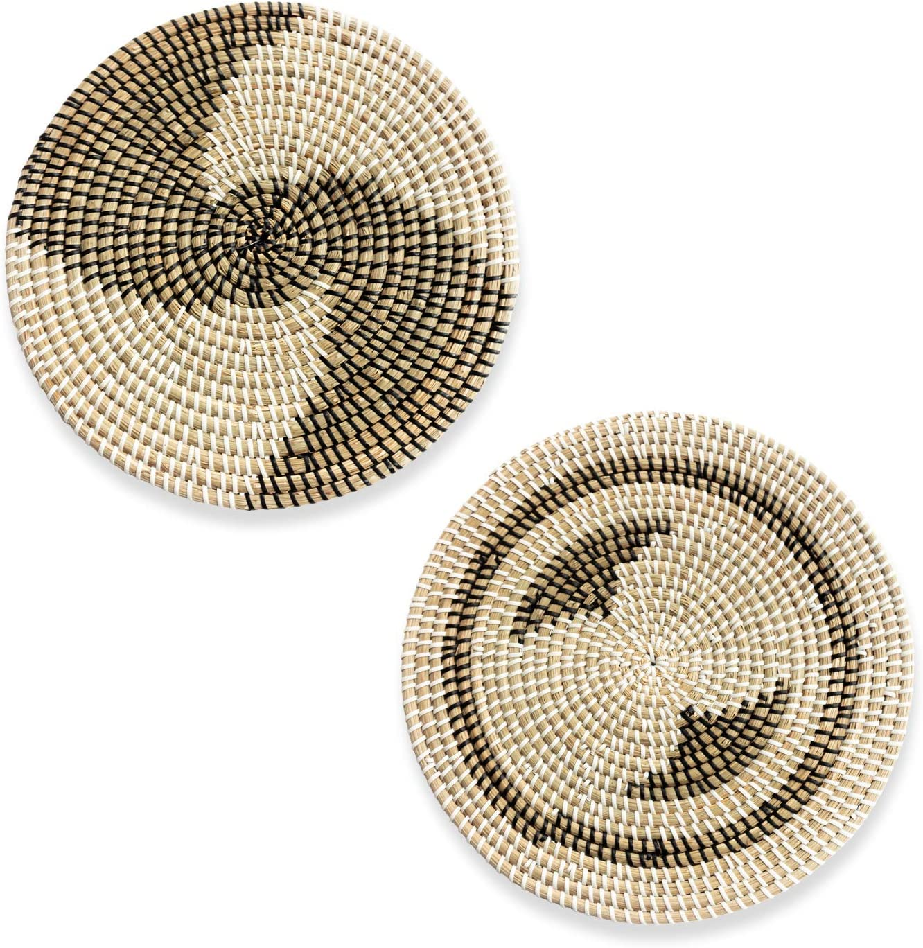 "HNCmua Decorative Flat Basket for Wall - Decorative Chargers - Flat Wicker Basket for Wall 11.7"" - Decorative Baskets for Wall - Woven Plates for Wall - 2 Piece Set"