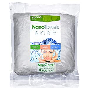 "Nano Towels Body Bath & Shower Towel. Huge & Super Absorbent. Wipes Away Dirt, Oil and Cosmetics. Use As Your Sports, Travel, Fitness, Kids, Beauty, Spa Or Salon Luxury Towel. (30 x 55"", Grey)"