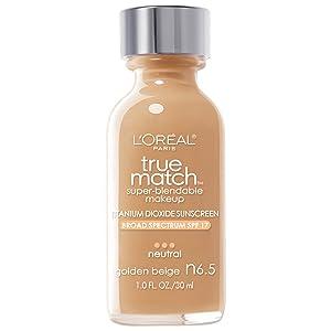 L'Oreal Paris Makeup True Match Super-Blendable Liquid Foundation, Golden Beige N6.5, 1 Fl Oz,1 Count
