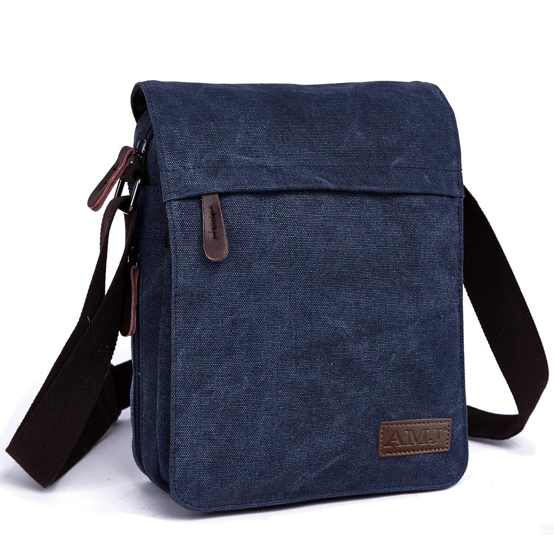 Canvas Crossbody Shoulder Bags Vintage Satchel for Travel Work Business AMJ Messenger Bag for Men