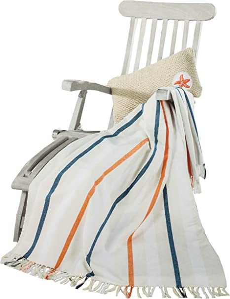Brandsseller Maritim - Manta de verano (100% algodón, 150 x 200 cm), algodón, Weiß/Streifen, 150 x 200 cm: Amazon.es: Hogar