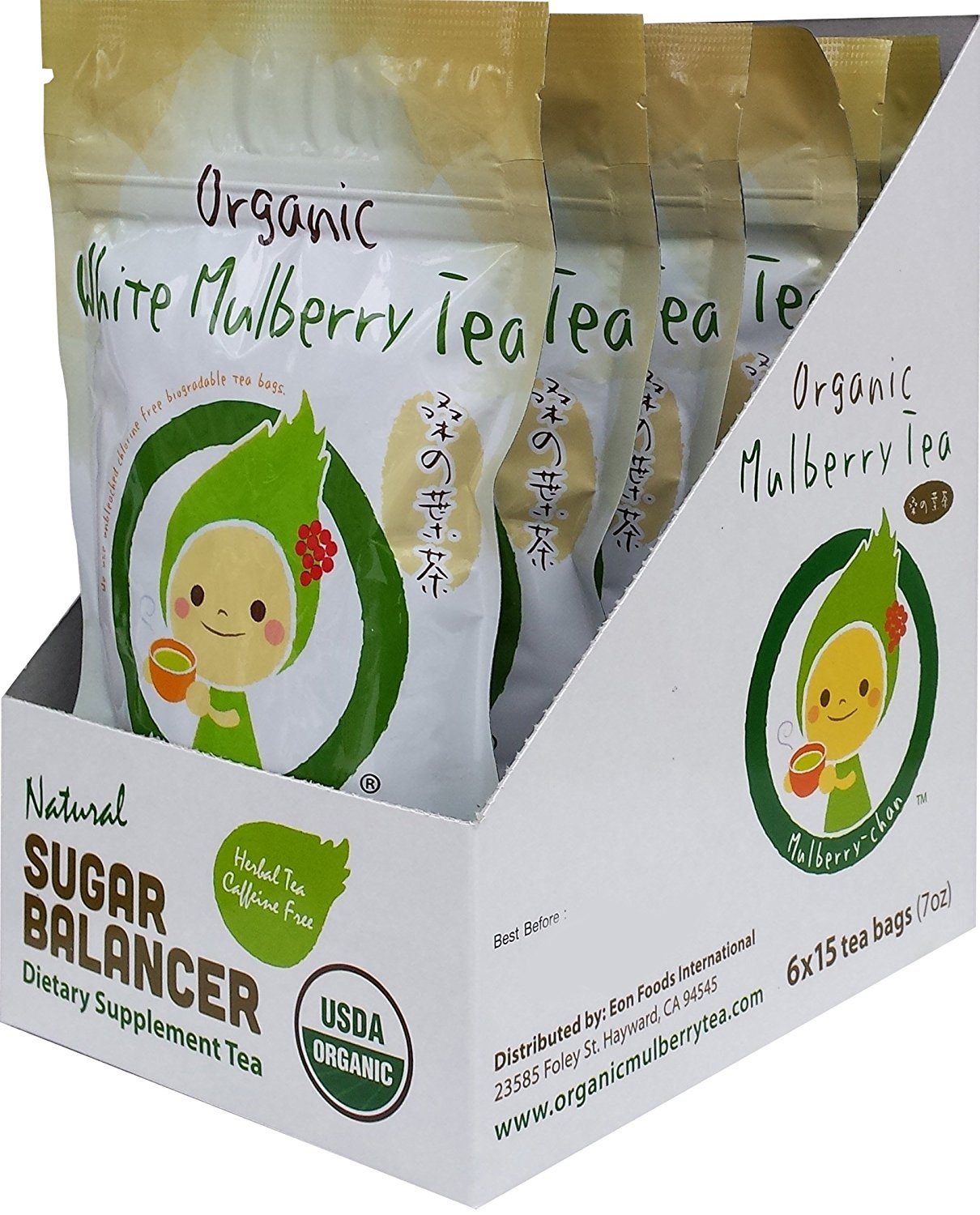 USDA Organic White Mulberry Leaf Tea (90 Teabags) Blood Sugar Controller | Caffeine Free | Boosts Immune System | Helps with Weight Loss