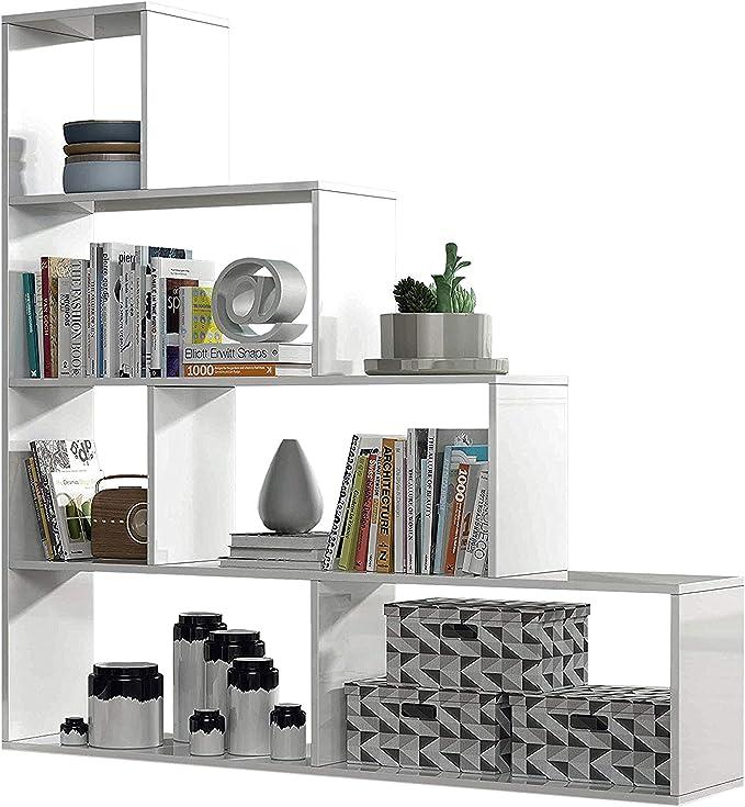 Habitdesign 002255BO - Estantería Decorativa, Acabado en Blanco Brillo, Medidas: 145 cm (Largo) x 145 cm (Alto) x 29 cm (Fondo): Amazon.es: Hogar