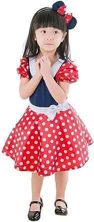 f3e12c42260ed 子供 コスプレ 衣装 ミニー マウス コスチューム ワンピース カチューシャ 2点セット M 100-120cm
