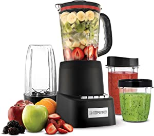 Chefman Countertop + Travel Dynamic Blending System 12-Piece Set, 3 Programmed Speeds & Pulse, Easy Ice Crushing for Shakes & Smoothies, Dishwasher-Safe 32-Oz Pitcher, 12Oz & 2 24Oz Tumblers, Black
