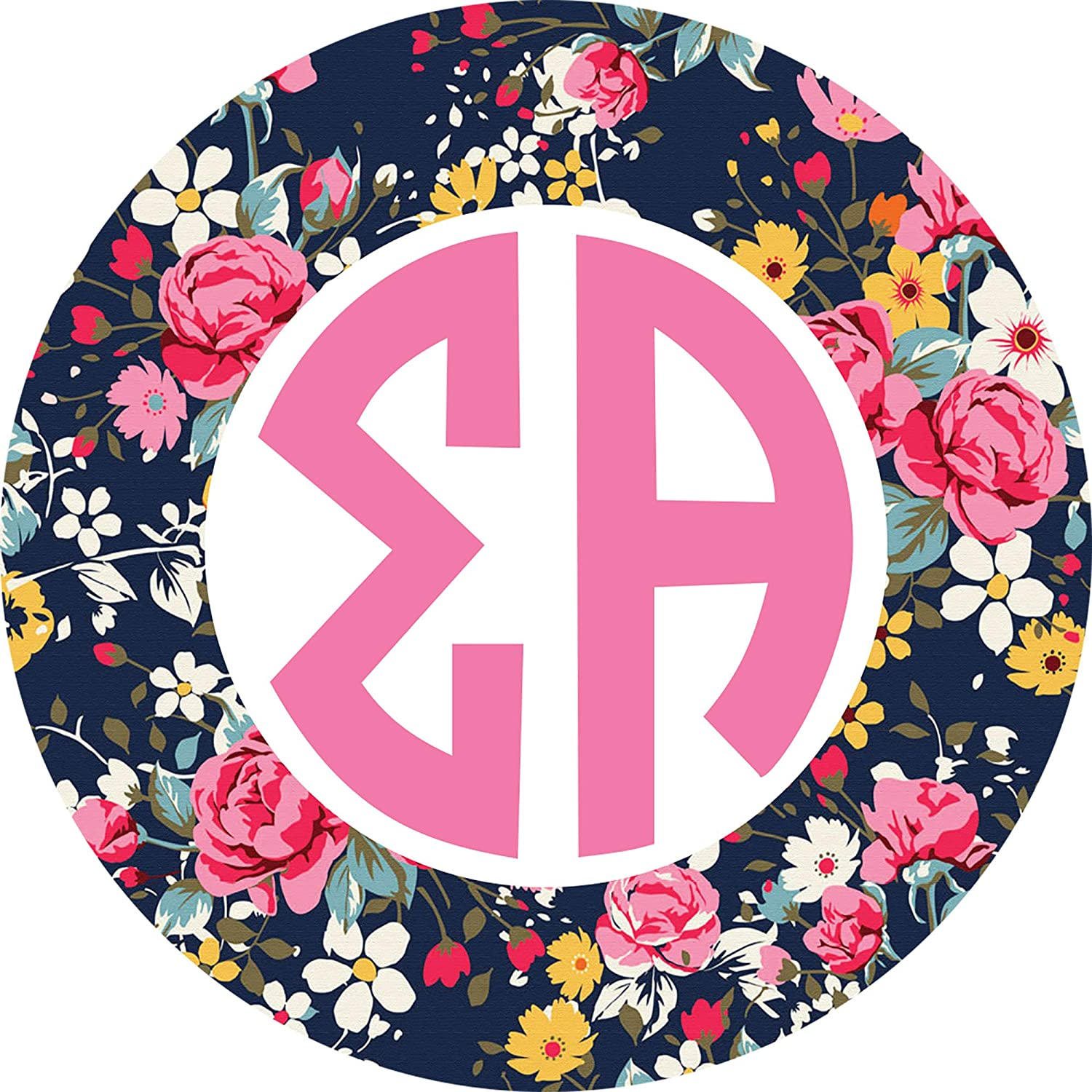Sigma Alpha Circle Floral Monogram Sticker 3 Inch Tall Sorority Decal Greek for Window Laptop Computer Car