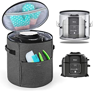 Luxja Cover Compatible with Ninja Foodi Pressure Cooker (Totally Enclosed with Side Handles), Pressure Cooker Cover Compatible with Ninja Foodi (Fits for 6.5 Quart and 8 Quart), Gray