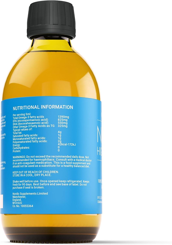 Nordic Oil Aceite de Pescado Omega 3 de Alta Resistencia 250ml. Sabor limón probado y galardonado con el Premio al Sabor.: Amazon.es: Electrónica