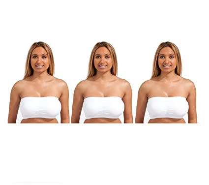 1ce424561c70a Marielle Strapless Tube Top Bandeau Padding Unpadded 3-Pack Black