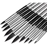 Artist Watercolor Brushes 10pcs, Round Paint Brush Set Pointed Tip Soft Anti-Shedding Black Hair, Comfortable Short Handle, Perfect for Water Color Acrylics Ink Gouache Oil Tempera Paint by Numbers