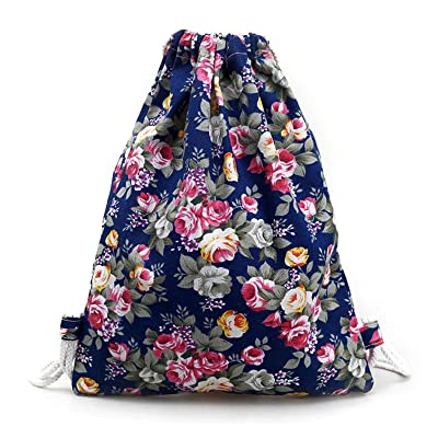 Owill Women Girls Shivering Floral Canvas Backpack Fashion Drawstring Backpack Storage Bag free shipping