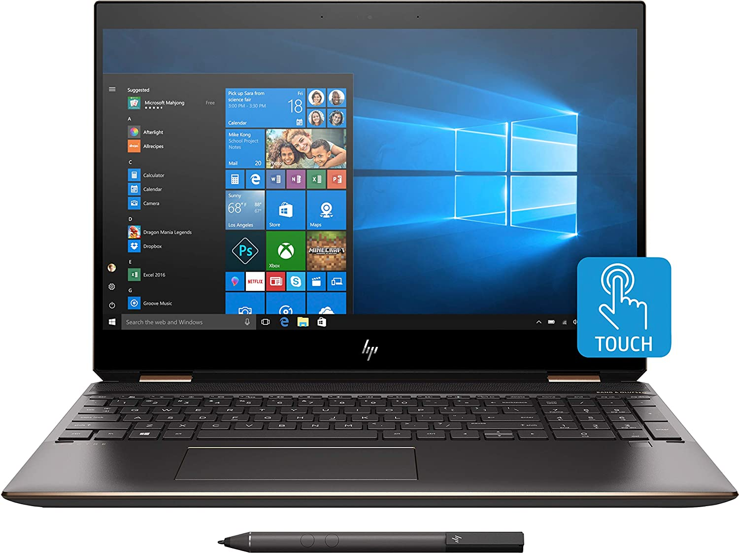 "HP - Spectre x360 2-in-1 15.6"" 4K Ultra HD Touch-Screen Laptop - Intel Core i7 - 16GB Memory - 512GB SSD - HP Finish In Dark Ash Silver, Sandblasted Finish"