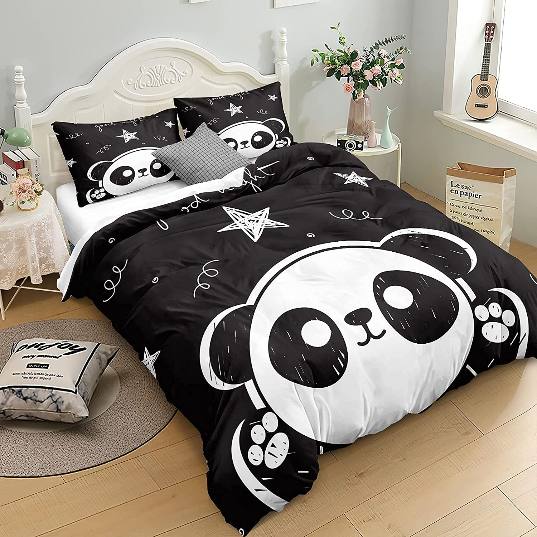 Panda Bedding Twin Set Black White Duvet Cover Set Cute Cartoon Animal Pattern Panda Bear Bedding for Girls Boys 1 Duvet Cover 1 Pillowcase (Black White, Twin)