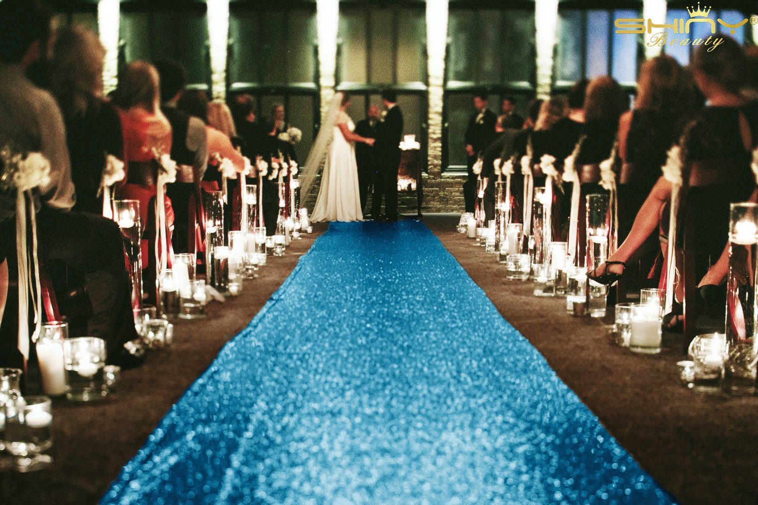 4FTx50FT-Aisle Runner Carpet-Aqua Blue-Glitz Sequin Aisle Runner Lace For Wedding Decoration(48Inch by 50FT Long) (Aqua Blue) by ShinyBeauty