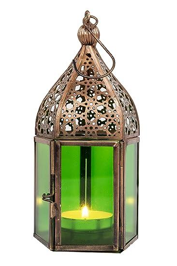 Orientalische Laterne Aus Metall Glas Meena Grun 16cm