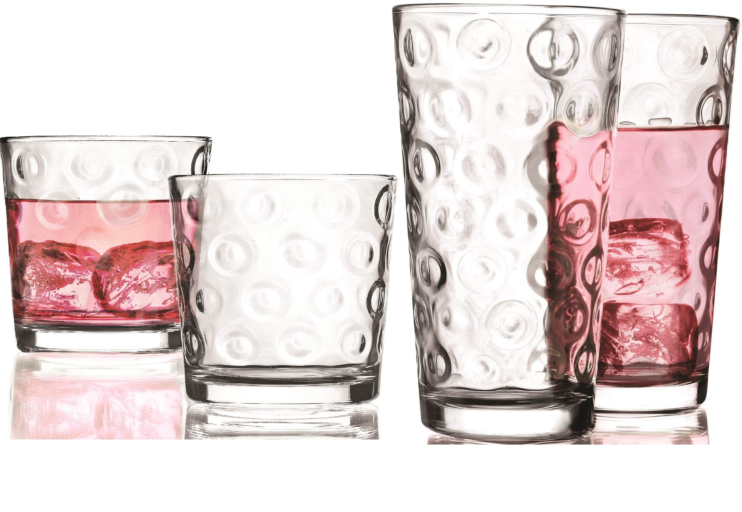 Circleware 40189 Circle Huge Set of 16 Highball Tumbler Drinking Glasses and Whiskey Cups, Glassware for Water, Beer, Juice, Ice Tea, Beverage Decor, 8-15.7 oz & 8-12.5 oz
