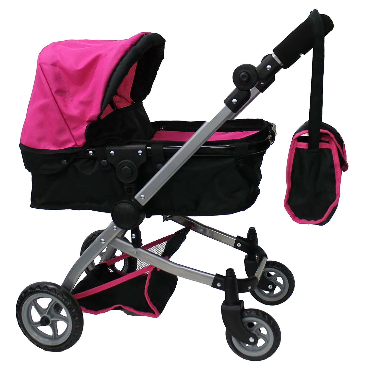 Babyboo Doll Pram with Swiveling Wheels, Adjustable Handle and Carriage Bag, Pink