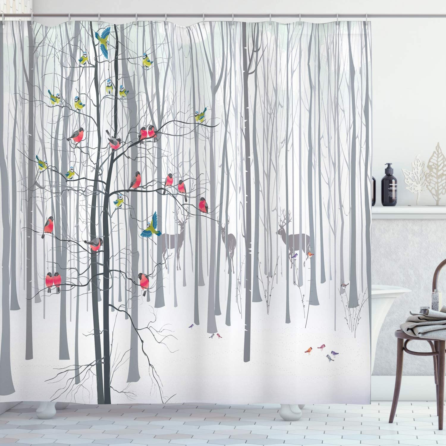 "Ambesonne Nature Shower Curtain, Winter Animals Colorful Group of Birds Sitting on Tree Forest Design with Reindeers, Cloth Fabric Bathroom Decor Set with Hooks, 70"" Long, White and Grey"