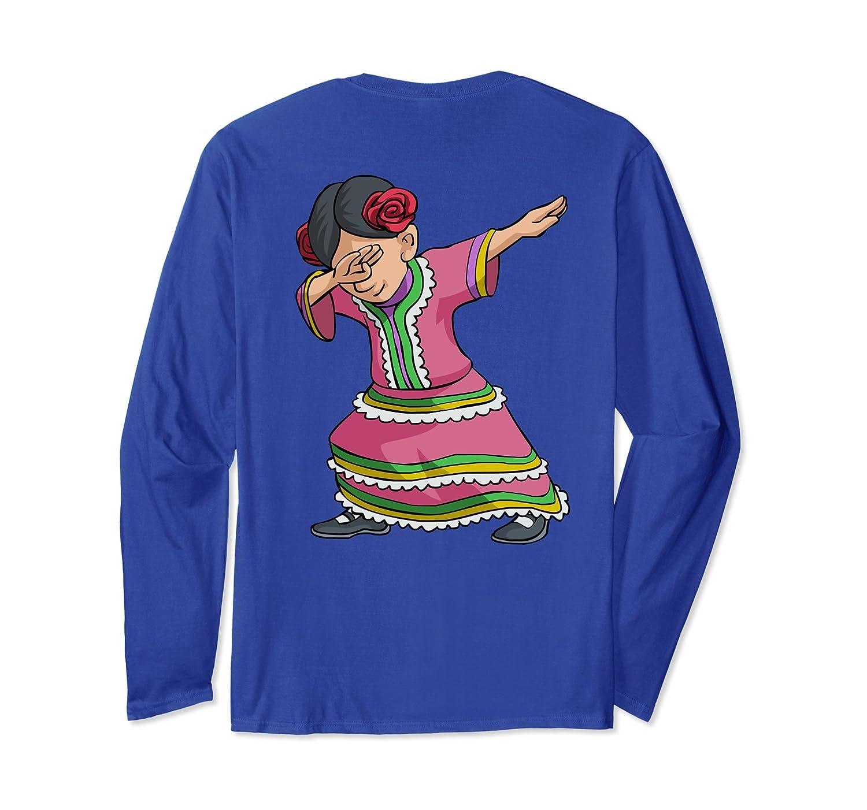 Dab Mexican Woman Back Print Long Sleeve Cinco de Mayo Shirt-alottee gift