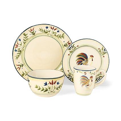 Amazon.com   Casamoda 16-Piece Dinnerware Set, Provincial Rooster ...