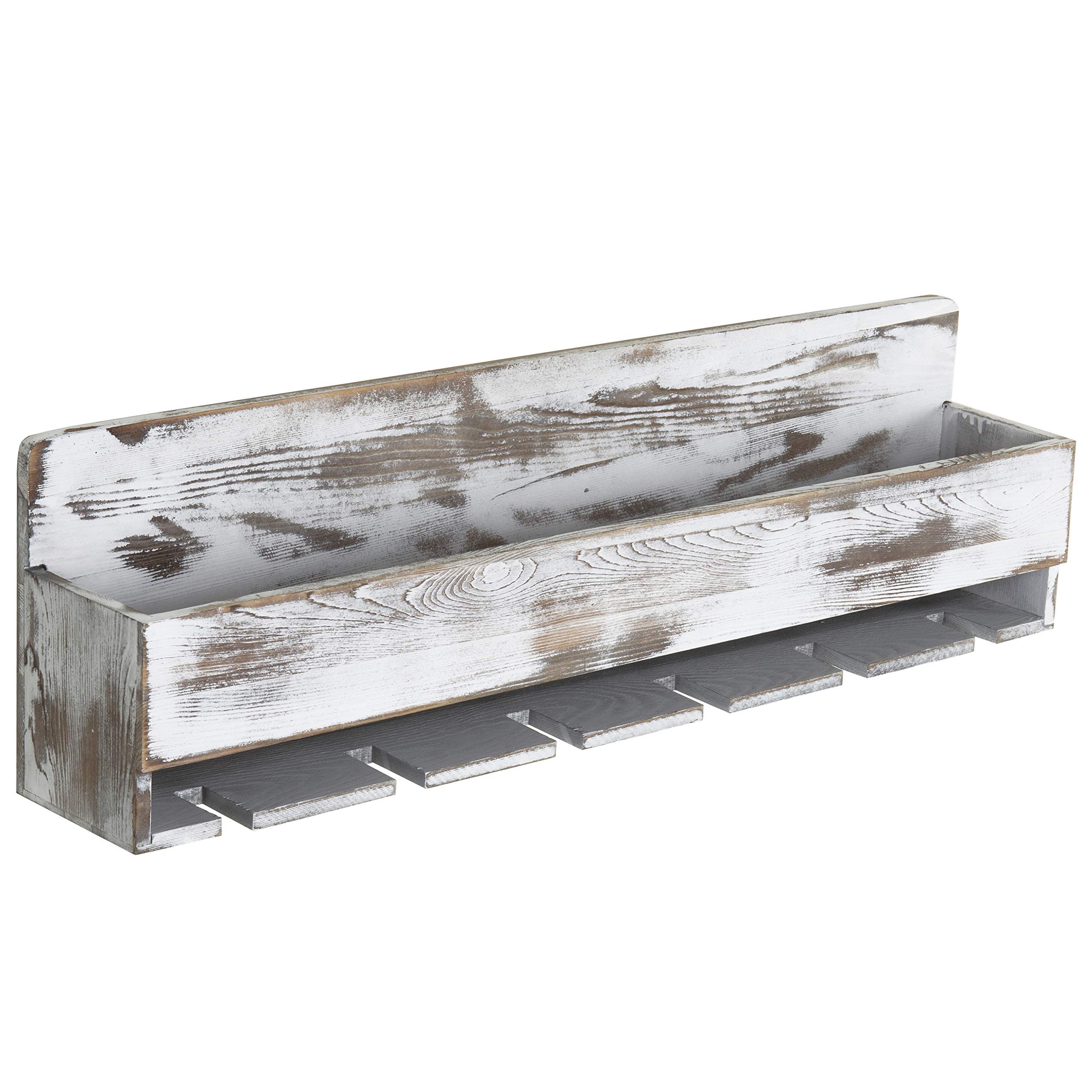 MyGift Rustic Whitewashed Wood Wall-Mounted Wine Rack with Bottle & Glass Holder by MyGift (Image #5)