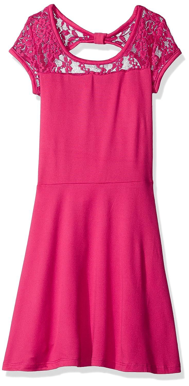 Top1  Derek Heart Girls  Big Cap Sleeve Skater Dress W Waist Lace Yoke    Back Bow 3af3d361a