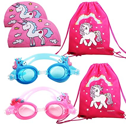 56b1773c7 2PCS Kids Unicorn Swim Goggles with 2PCS Unicorn Breathe Swim Cap-Sun  Protection Hat and 2PCS unicorn bags, Pack of 6, Swimming Glasses for Girls  and Early ...