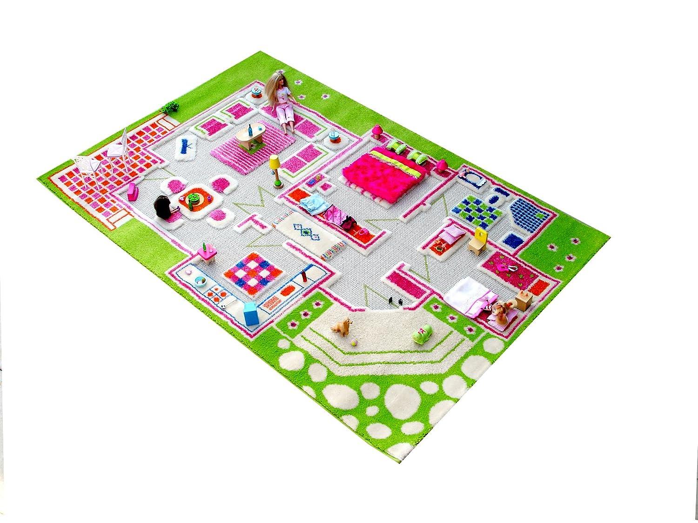 IVI Little Helper Tapis hypoallergénique 3D enfants Tapis de jeu et (130x 200cm, VERT/multicolore, maison) BC/PLAYHOUSEGREEN-134200