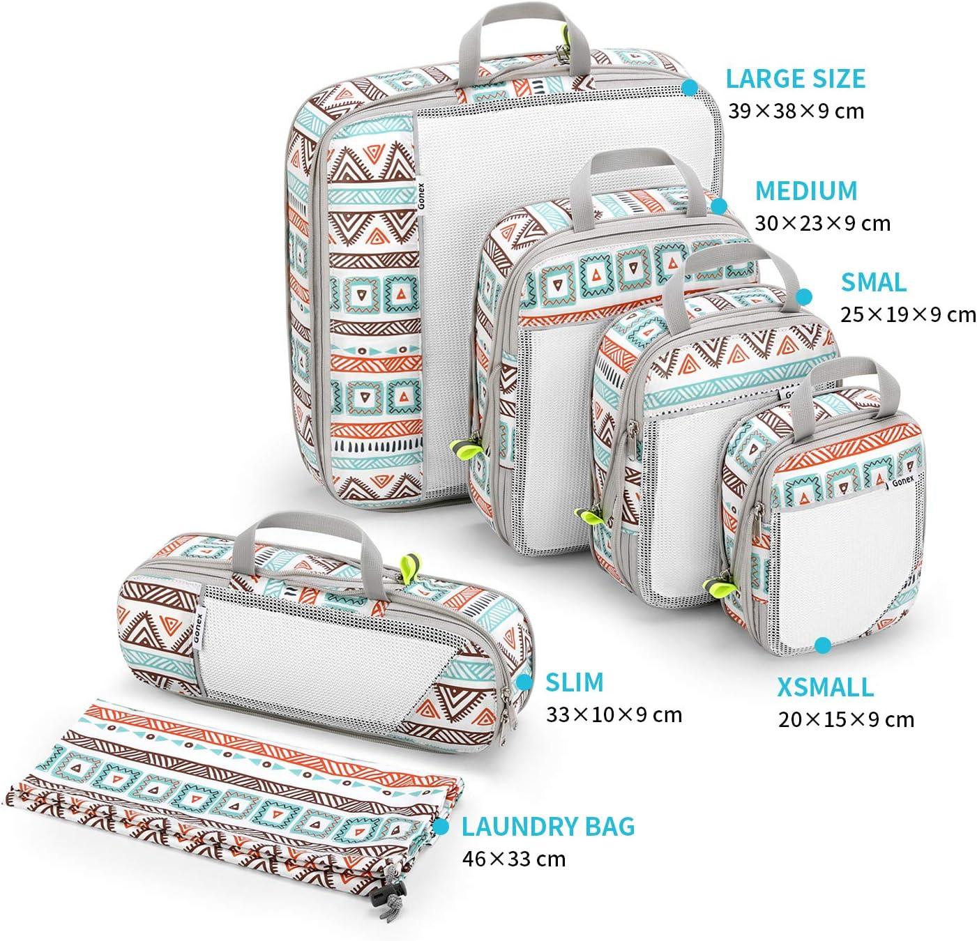 Gonex Organiseur Rangement de Valise Bagage Sac Compression pour Voyage Maquillqage V/êtement Lot de 6