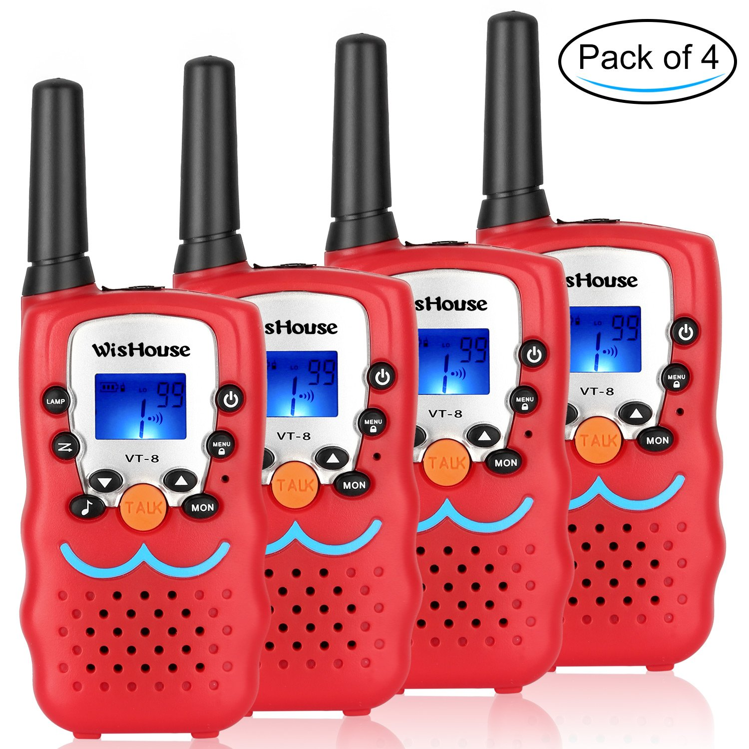 Wishouse Cheap Kid's Walkie Talkies, Mini Two way radios Festival Gift Toys for boys,Cool Toys Free Talk Walky Talky Long range For Spy Games Hiking Camping Outdoor Activities(VT-8 Red, 2 Pairs)