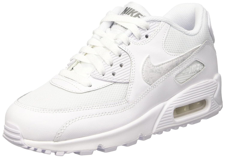 Nike Air Max 90 Mesh (GS) Zapatillas de Running, Niños 38.5 EU Blanco (White / White-cool Grey)